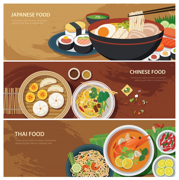 Азия уличная еда веб-баннер, тайская еда Premium векторы