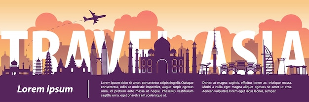Asia top famous landmark silhouette style Premium Vector