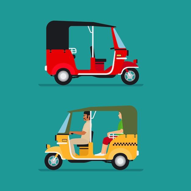 アジアの自動人力車またはベビータクシー輸送 無料ベクター
