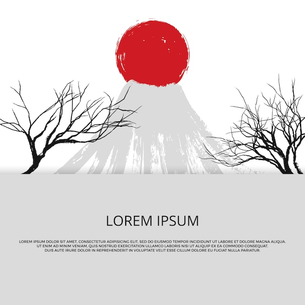 Asian banner with grunge of japan Premium Vector