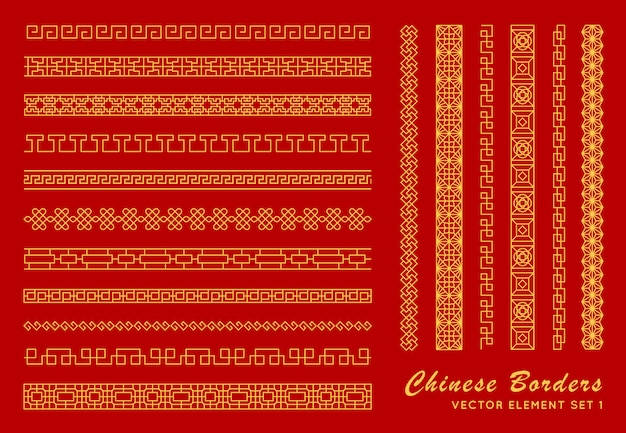 Asian border set. traditional chinese ornaments Premium Vector