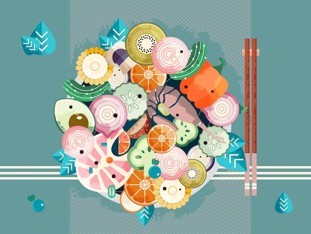 Asian bowl with chopsticks Premium Vector
