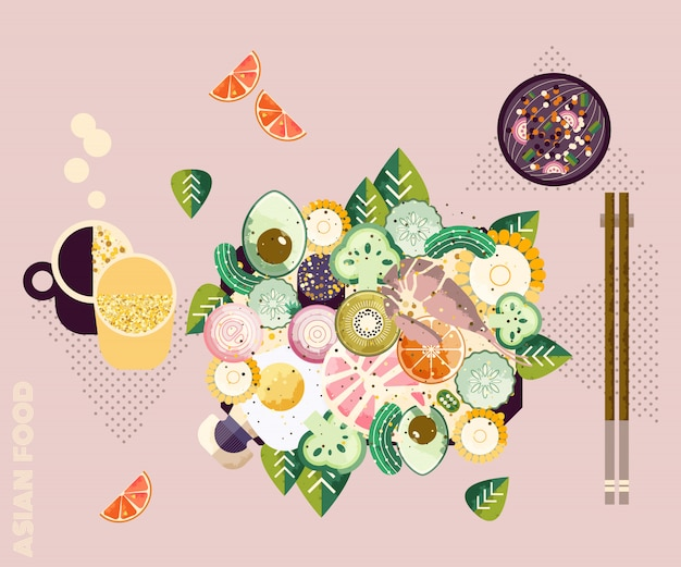 Asian bowl Premium Vector