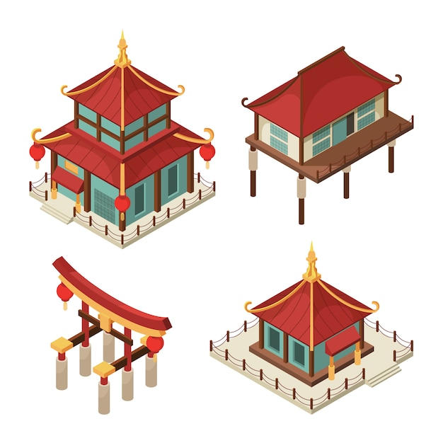 Premium Vector Asian Buildings Isometric Chinese Gate Traditional Japanese Houses Pagoda Roof Shintoism 3d Architecture Pictures