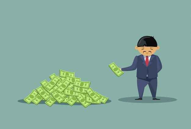 Asian business man throwing dollars Premium Vector