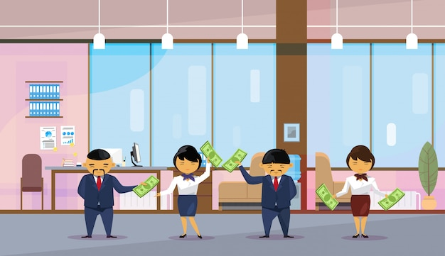 Asian business people group holding dollar banknotes Premium Vector