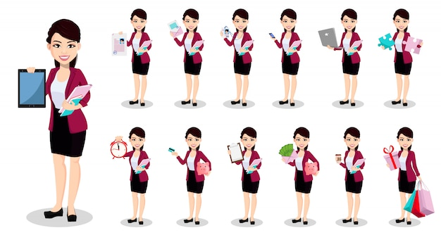 Asian business woman in office clothes Premium Vector