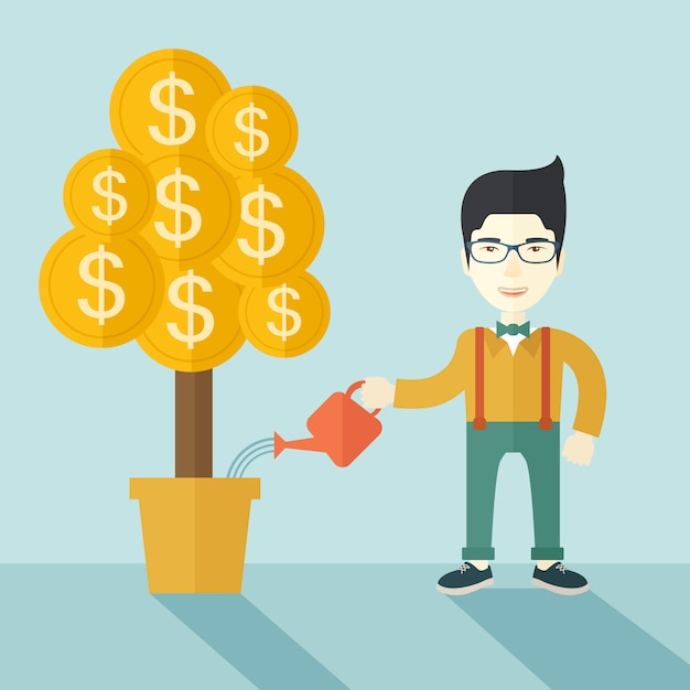 Asian businessman happily watering the money tree. Premium Vector