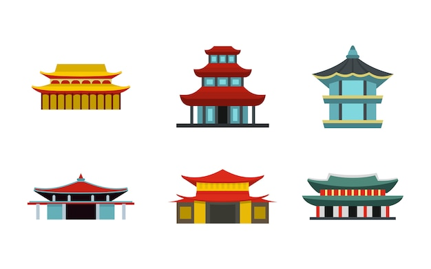 Asian castle icon set. flat set of asian castle vector icons collection isolated Premium Vector