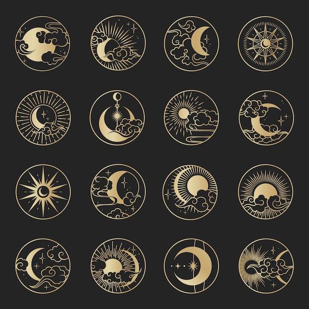 구름, 달, 태양, 별 설정 아시아 원. 동양 중국, 일본, 한국 스타일의 벡터 컬렉션 프리미엄 벡터