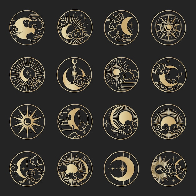 Asian circle set with clouds, moon, sun, stars . vector collection in oriental chinese, japanese, korean style. Premium Vector