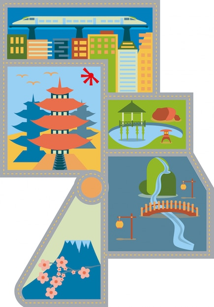 Asian City Map Premium Vector
