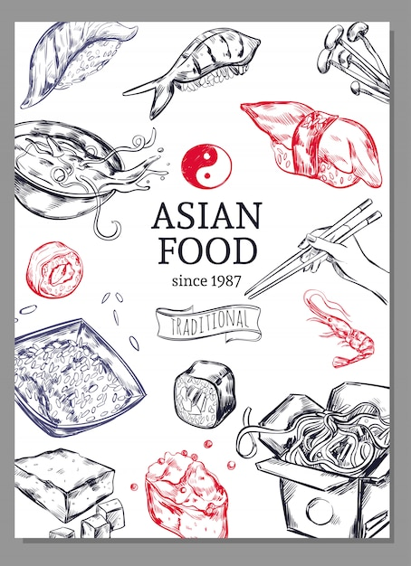Asian cuisine sketch poster Free Vector