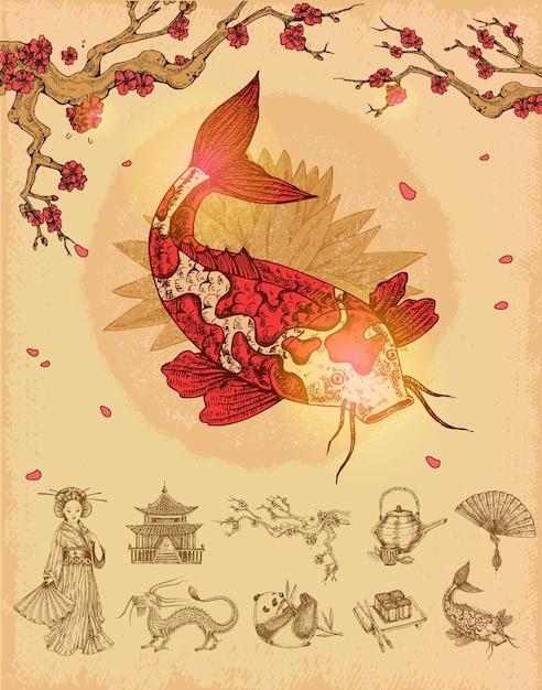 アジア文化のコンセプト 無料ベクター