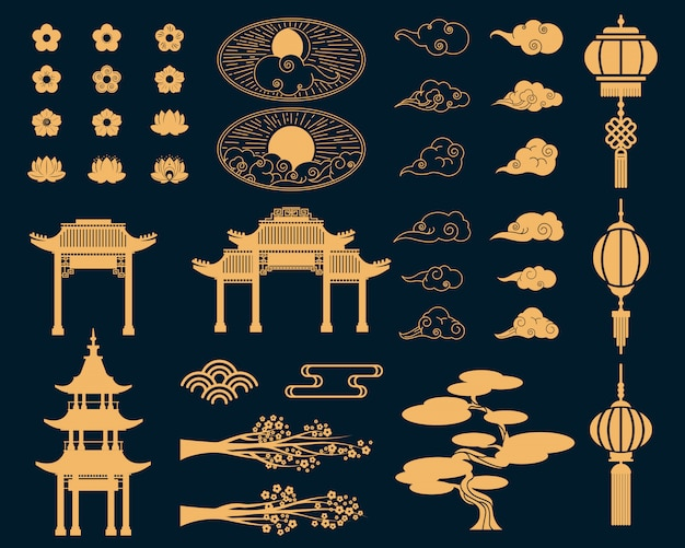 Asian decorative elements set Free Vector