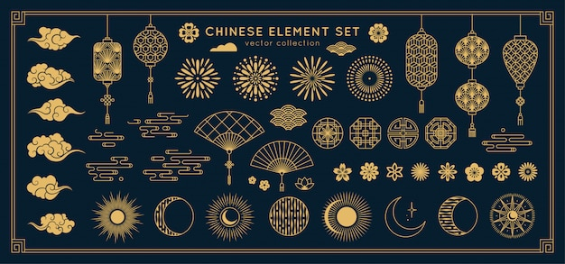 아시아 디자인 요소 집합입니다. 프리미엄 벡터