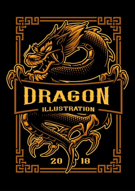 Asian dragon  illustration. shirt graphics. all elements, text colors are on the separate layer and editable. Premium Vector