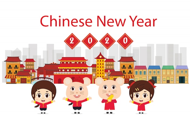Asian family traditional costume. mean happy new year illustration Premium Vector