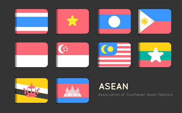 Asian flag tag vector flat design Premium Vector