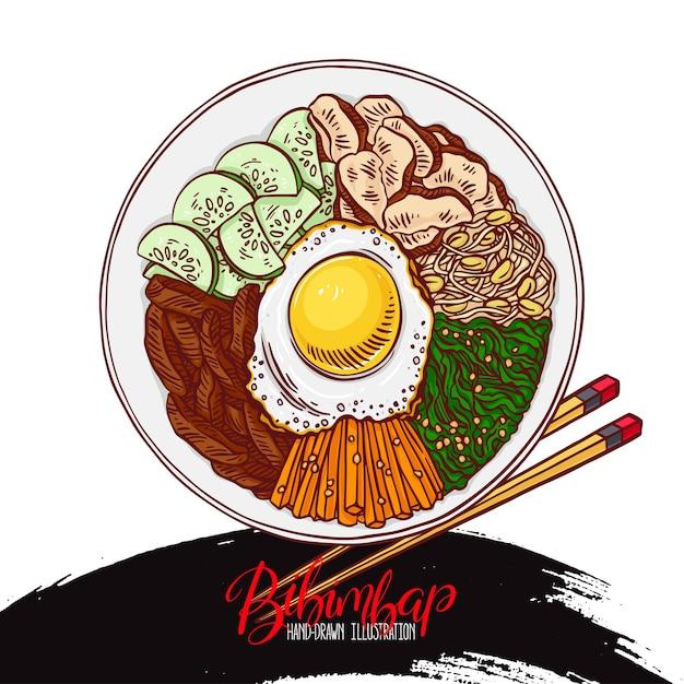 Asian food. bibimbap korean food. hand-drawn illustration Premium Vector