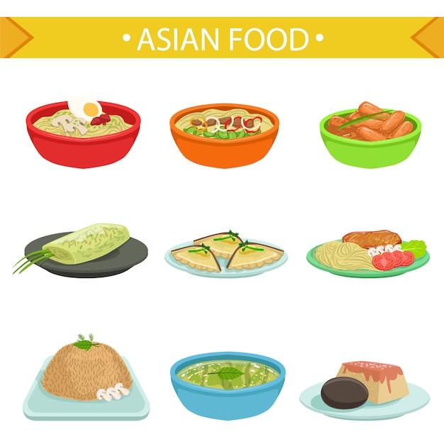 Азиатская еда знаменитый набор блюд иллюстрации Premium векторы