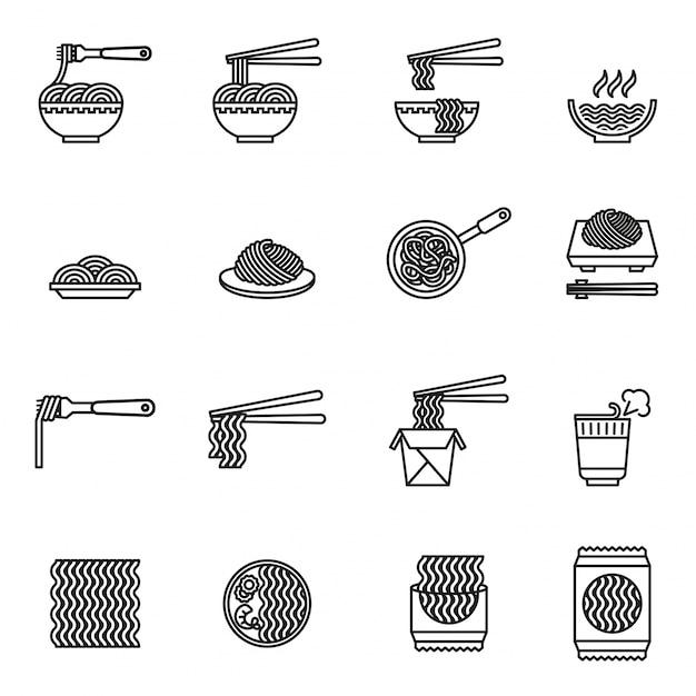 Asian food icons set Premium Vector