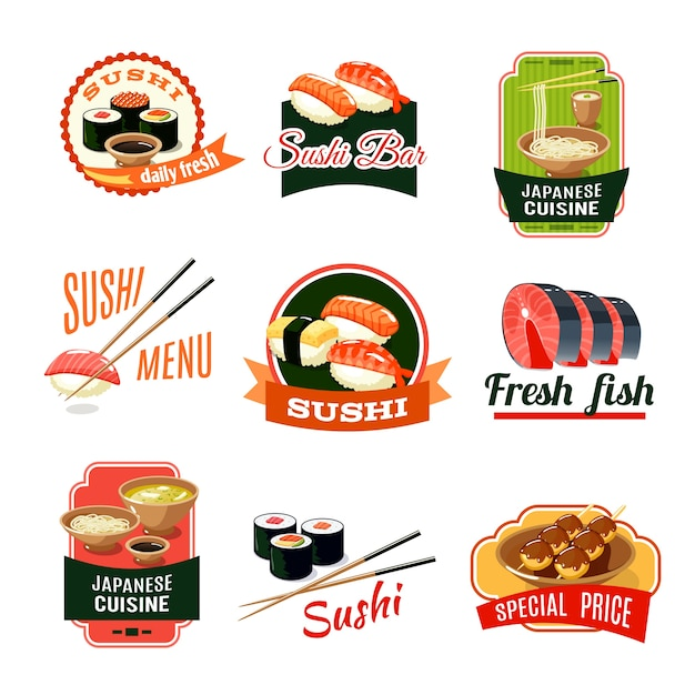 Asian food labels Free Vector