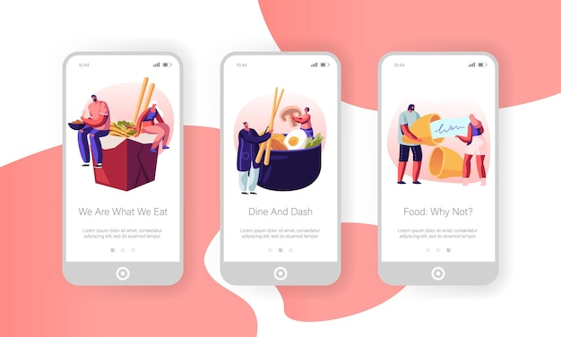 Asian food mobile app page onboard screen set. Premium Vector