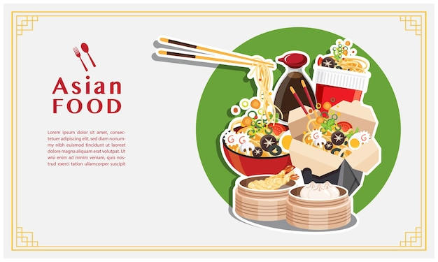 Asian food, noodle soup, take away box,  japanese ramen on a bowl , Premium Vector