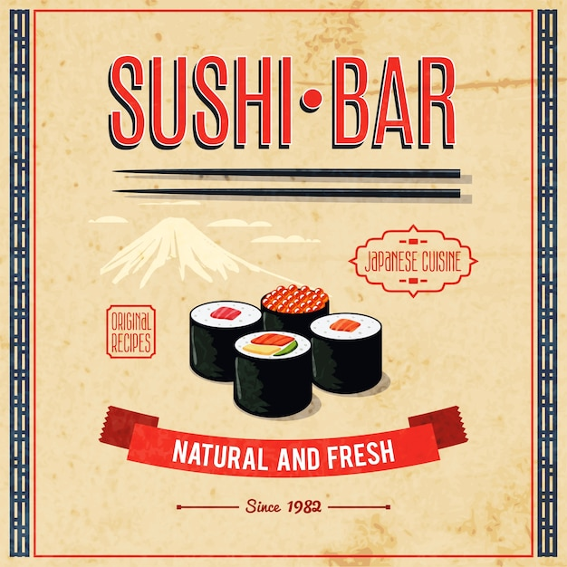 Asian food poster Free Vector
