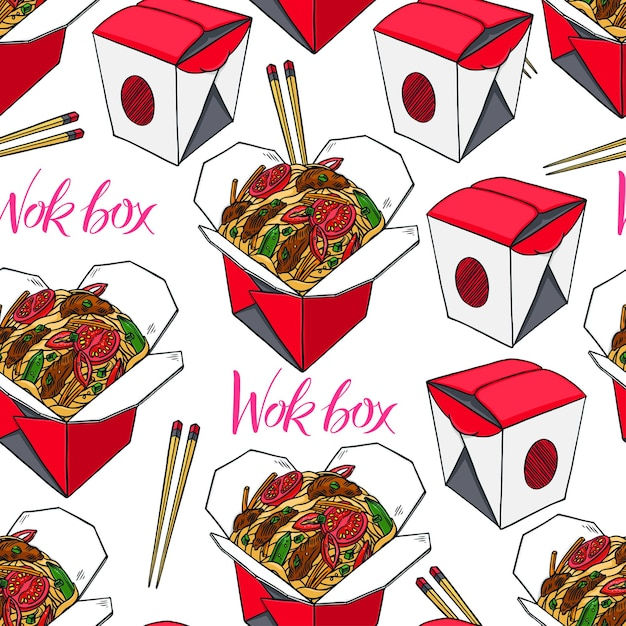 Asian food. seamless background of wok boxes with beef and tomato. hand-drawn illustration Premium Vector
