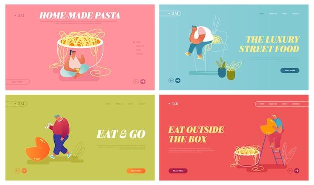 Набор посадочных страниц веб-сайта азиатской кухни. Premium векторы