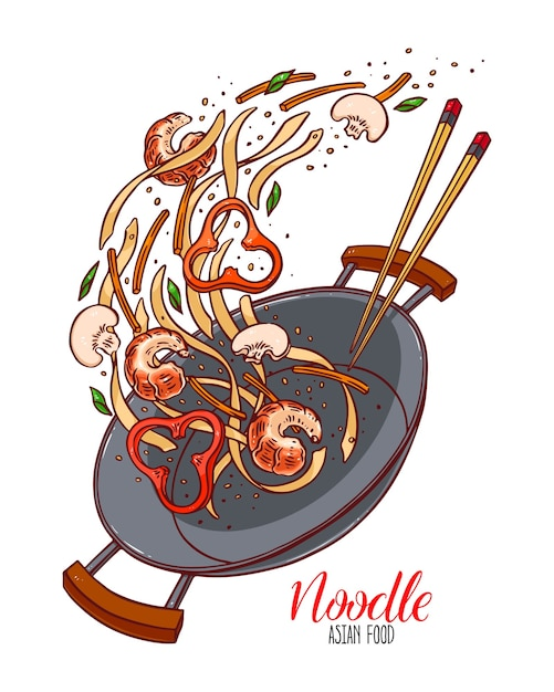 Asian food. wok pan of chinese noodles, shrimp, pepper and mushrooms. hand-drawn illustration Premium Vector