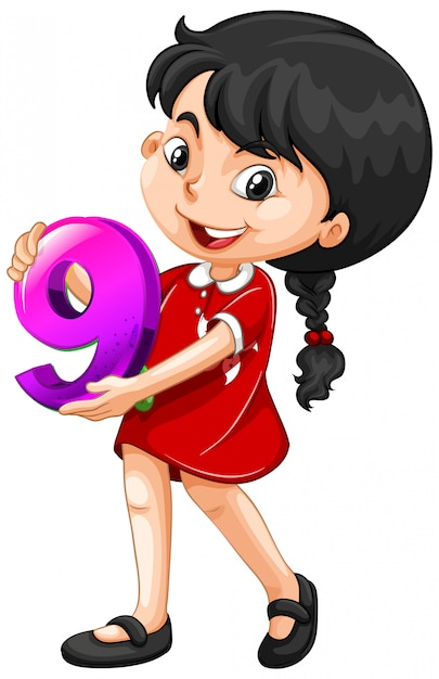 Asian girl holding math number nine Free Vector