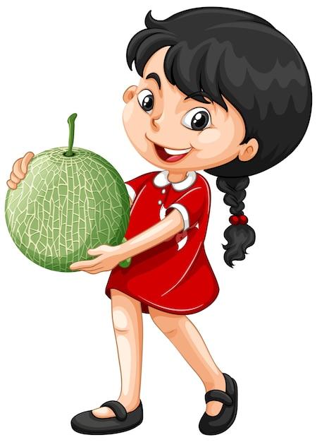 立っている位置でメロンの果実を保持しているアジアの女の子 無料ベクター