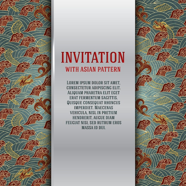 Asian invitation card with dragons and waves Free Vector