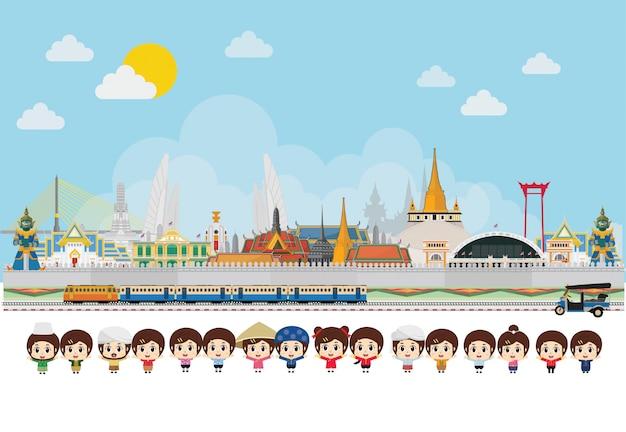 Asian kids traditional costume, celebrating in thailand Premium Vector