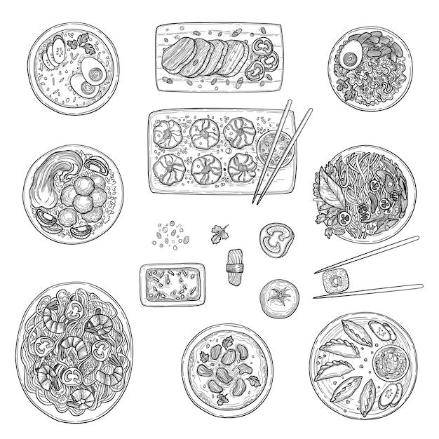 アジアのキッチン。中国の国民の料理のトップビュー韓国のオリエンタルメニューベクトルコレクション。中華オリエンタル料理、料理ビューイラスト Premiumベクター