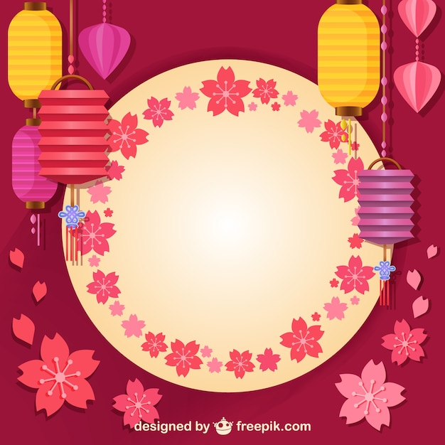Asian lamps and decoration Free Vector