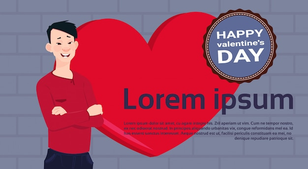 Asian man over red heart template background with happy valentines day label Premium Vector