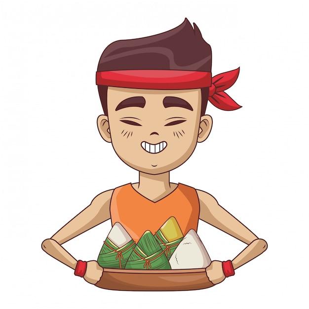 Asian man with rice dumplings Premium Vector
