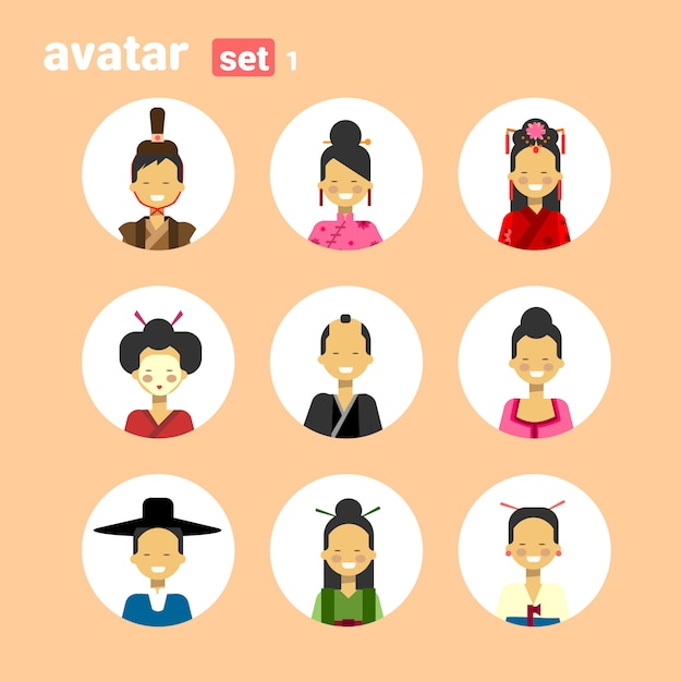 Asian man and woman avatar set icon female male in traditional costume profile portrait collection Premium Vector
