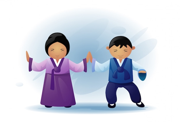 Asian man and woman wearing traditional clothes kimono dancing asia ethnic tradition Premium Vector