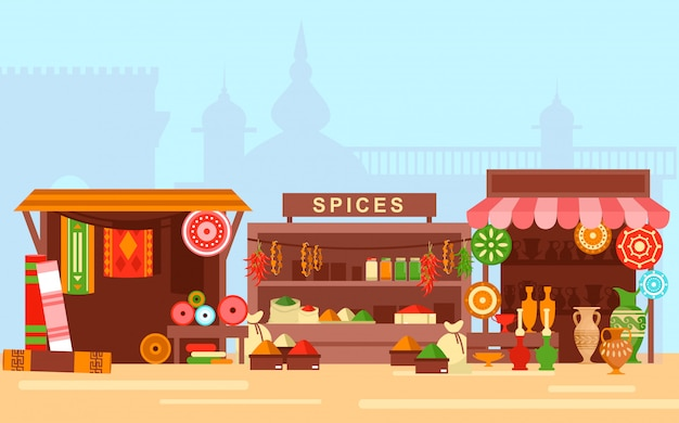 Asian market flat cartoon concept illustration. arabic bazaar on old eastern city background Premium