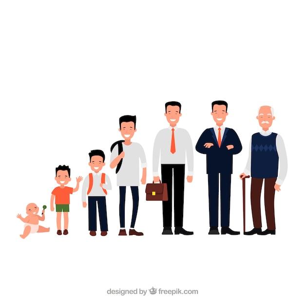 Asian men collection in different ages Free Vector