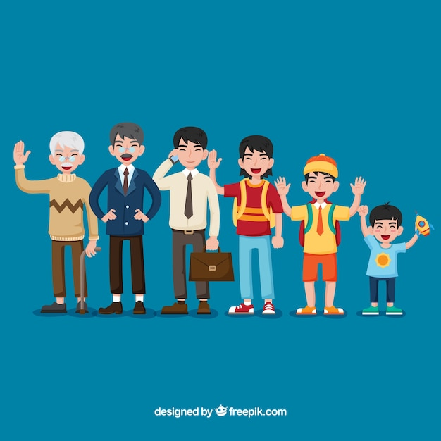 Asian men in different ages Free Vector