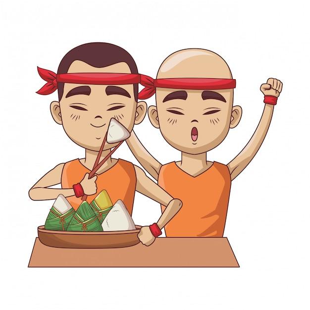 Asian men with rice dumplings Premium Vector
