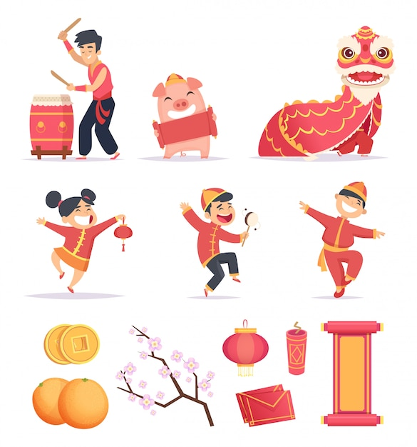 Asian new year. happy chinese people celebrate 2019 with traditional symbols dragons lantern firecrackers  pictures Premium Vector