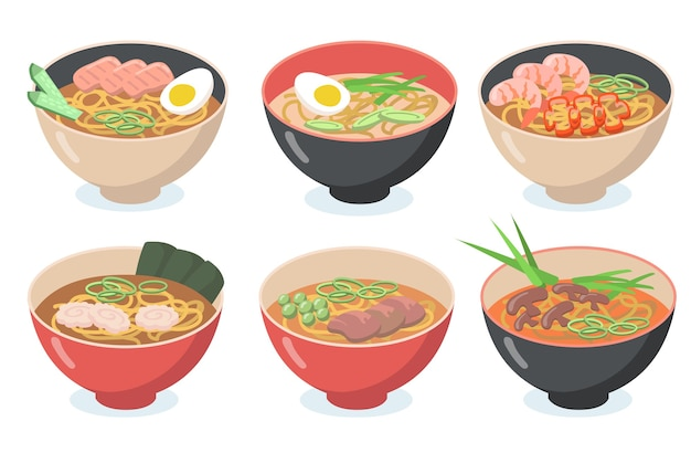 아시아 국수 세트. 수프, 우동, 계란, 녹색 채소, 콩, 해산물, 버섯을 곁들인 그릇. 무료 벡터