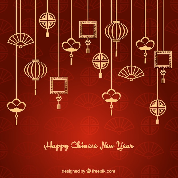 asian ornaments garlands new year background free vector